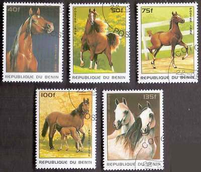 BENIN (16/1) 1996 Horses Domestic Animals 5 Diff. Stamps ! Gift Your Children !