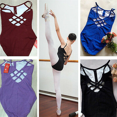 Ladies Black Ballet Camisole Leotard With Cross Straps Gymnastic Dance Uniform