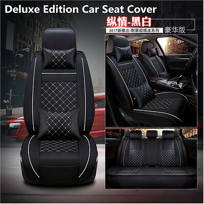 Car Deluxe Edition Seat Cover Cushion Front+Rear 5-Seats PU Leather w/Pillow Set