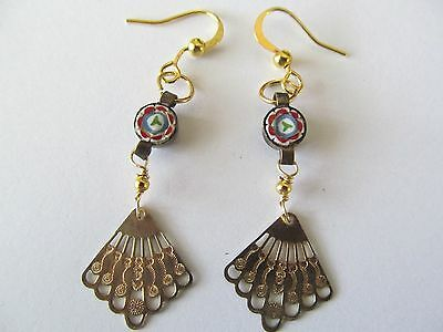 Vintage Victorian Style Micro Mosaic Gold Fan Handcrafted Pierced Gold Earrings