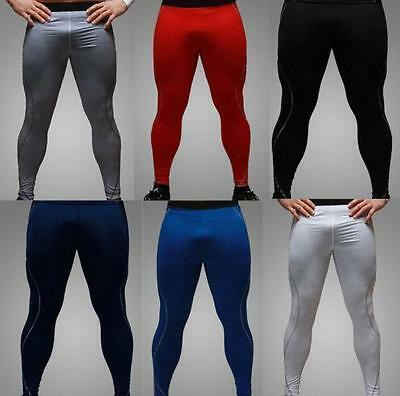 Men Tight Base Sport Pants Leggings Thermal Compression Trainer Trousers Blue XL