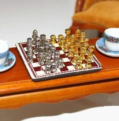 1:12 Dollhouse Miniature Furniture Metal High-end Chess Toy Set With Chessboard☆