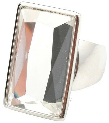 Zest Large Rectangular Clear Gem Ring in a Silver Setting