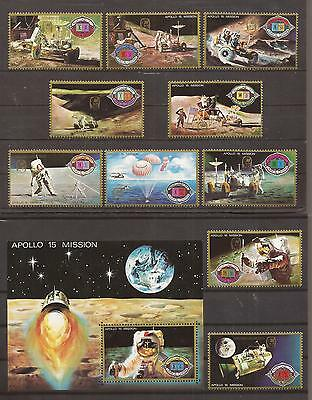 Apollo 15 _ a Set of 10 Stamps and their Souvenir Sheet _ Space _ MNH