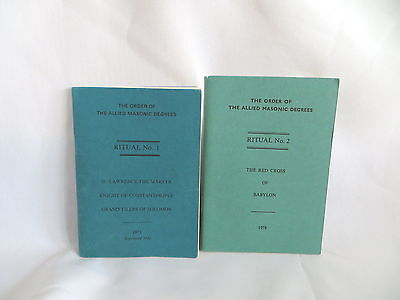 1970's ORDER OF THE ALLIED MASONIC DEGREES RITUAL NO 1 & 2 BOOKLETS (77)