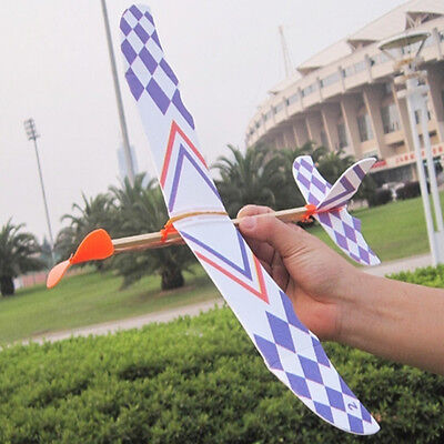 Rubber Band Elastic Powered Glider Flying Plane Airplane Model DIY Kids Toy Gift