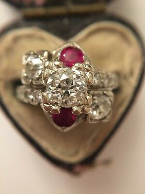 Stunning Platinum Art Deco Heavy Ruby Diamond Cocktail Ring .75 Centre Stone