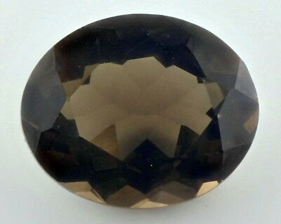 UNUSUAL 12x10mm OVAL-FACET STRONG-BROWN NATURAL AFRICAN SMOKEY QUARTZ GEMSTONE