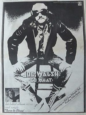 JOE WALSH : So What -Poster Size NEWSPAPER ADVERT- 1975 30cm X 40cm