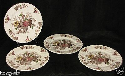 Vintage Set of 4 Myott Bountiful Staffordshire England Porcelain Dinner Plates
