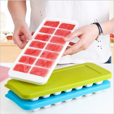 QUICK SNAP Ice-Cube Tray With Lid Silicone Jelly Ice Cubes Pudding Mold Tools LG