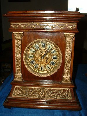 Interesting Antique Wooden Mantle Clock