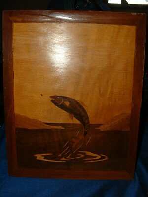 Unusual Vintage Wooden Plaque Of A Salmon Leaping