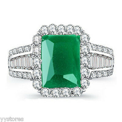 925 silver Filled Green Sapphire Birthstone Wedding Loving Ring Gift Size8 LL481