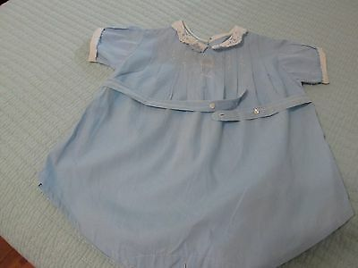 1940 1950 Blue Romper Baby Infant With White Collar Cuffs Tiny Embroidery Sweet