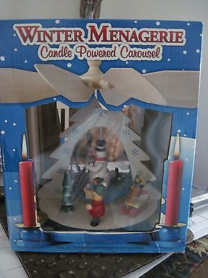 New Winter Menagerie Candle Powered Carousel  Snowman & Children Sleds