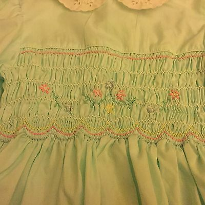 Vintage Polly Flinders hand smocked dress , Size 10 , Mint Green , Pink Shocking