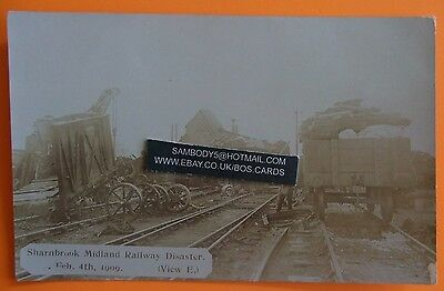 E.POUTEAU RP Postcard FEB 4th 1909 MIDLAND RAILWAY DISASTER SHARNBROOK BEDFORD