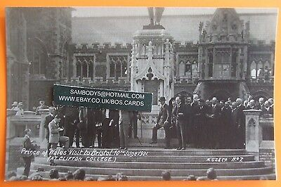 A.G.S. Postcard 10th JUNE 1921 PRINCE OF WALES VISIT TO CLIFTON COLLEGE BRISTOL