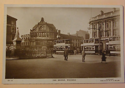 R.J.MILLER RP Postcard POSTED 1928 TRAMS THE BRIDGE WALSALL STAFFORDSHIRE