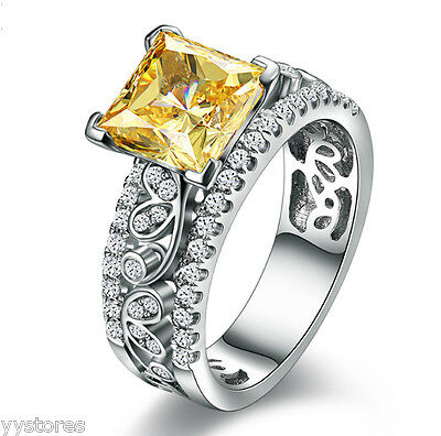 453 Yellow Topaz Birthstone 925 silver Filled  Engagement Wedding Ring Size 9