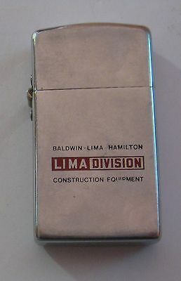 Vintage Lima Division Construction Equipment Advertising Slim Lighter