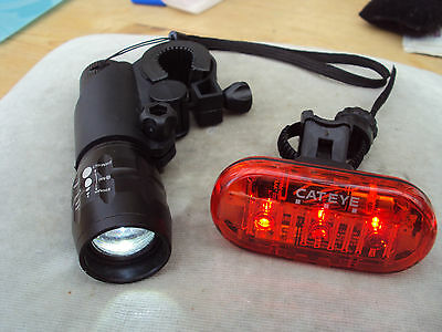 3 Led Cateye Rear Bike Light With 3 Modes & Front Cree Light Multi-Mode.