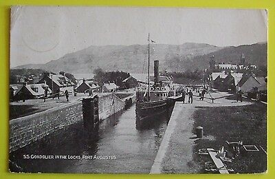 Postcard POSTED 1904 S.S.GONDOLIER IN THE LOCKS FORT AUGUSTUS INVERNESS-SHIRE