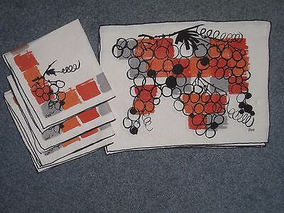 Vintage Vera Place mats and Napkins for 4 Grapes Orange Mid-Century