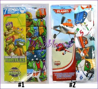 Set 7 Pack Brief Underwear Boys Toddler 2T 3T 4T Turtles Ninja Disney Planes New