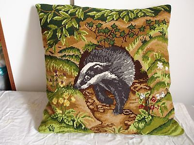 """completed needlepoint cushion cover  -badger design-16"""" square"""