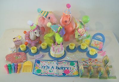 G1 My Little Pony Party Gift Pack Lot Near Complete Set Flutter Wings Vintage
