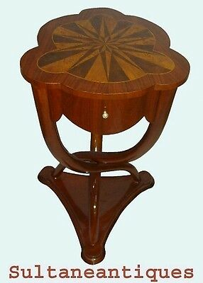 Elegant Art Deco French Thonet style walnut side table