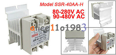 SSR-40AA 40A Solid State Relay Module 80-250V AC / 24-380V  Aluminum Heat Sink