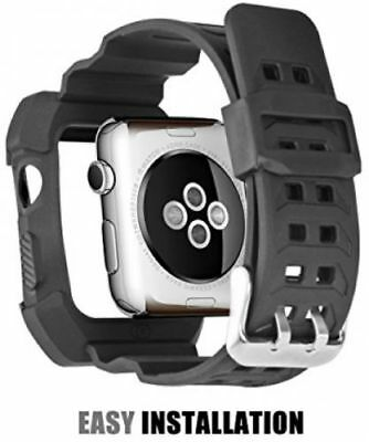 42mm Black Rugged Protective Case with Strap Band For Apple Watch Series 1/2
