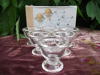 Set of 6 Clear Glass German Footed Egg Cups