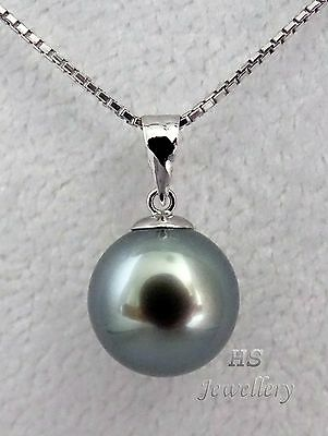 HS Black Tahitian South Sea Cultured Pearl 12.05mm Pendant 18KWG Top Grading