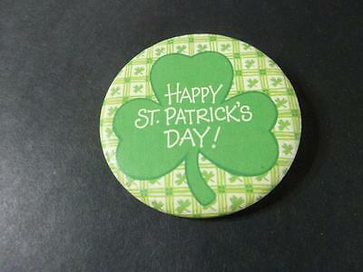 HAPPY ST. PATRICK's 1980's PIN BACK BUTTON 2 1/4''