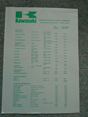 Kawasaki Clothing & Accessories Price List Aug 1976 Motorcycle Leaflet   38712