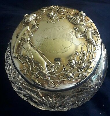 Art Nouveau Figural Repousse Sterling Silver & Crystal Covered Powder Jar Unger