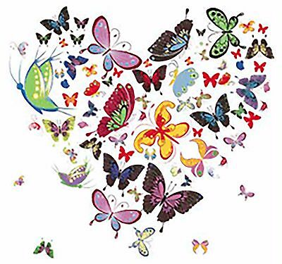 "3 Heart Butterfly Butterflies 3""  Waterslide Ceramic Decals Xx"