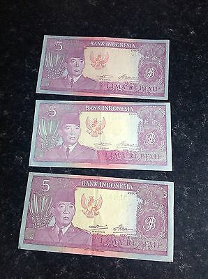 3  x 1960 Used Bank Indonesia 5 Rupiah Banknotes
