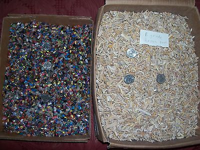 100 b grade brown fossil shark teeth and 100  gemstones per lot. Free shipping