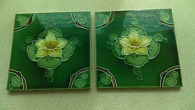 Vintage Art Nouveau Majolica Tiles x2 By Rhodes Gorgeous Waterlily