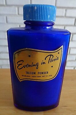 Evening in Paris Talcum Powder Talc Cobalt Blue bottle Bourgeois 4 full