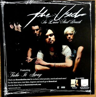 2004 THE USED/IN LOVE AND DEATH PROMO POSTER*12x12*2-Side*Great Picture!