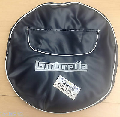 Lambretta Blue Spare Wheel Cover  Inc Pocket With Zip . 10 Inch Gp-Li-Sx-Tv