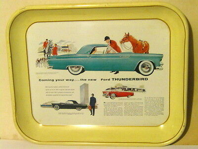 Vintage 1955 Ford Thunderbird Advertising Serving Tray Great Graphics Issue 1976