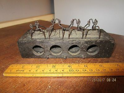 Antique 4 in a row wooden Mouse Trap / 4 in a line Mouse Trap / 4 hole trap