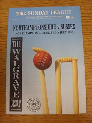 05/07/1992 Cricket Programme: Northamptonshire v Sussex [Sunday League] (team ch